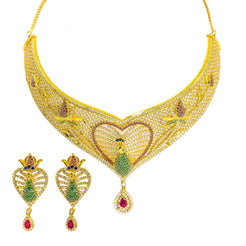 22K Yellow Gold Choker & Drop Earrings Set W/ Ruby, CZ, Peacock Heart Design & Drop Pear Pendant