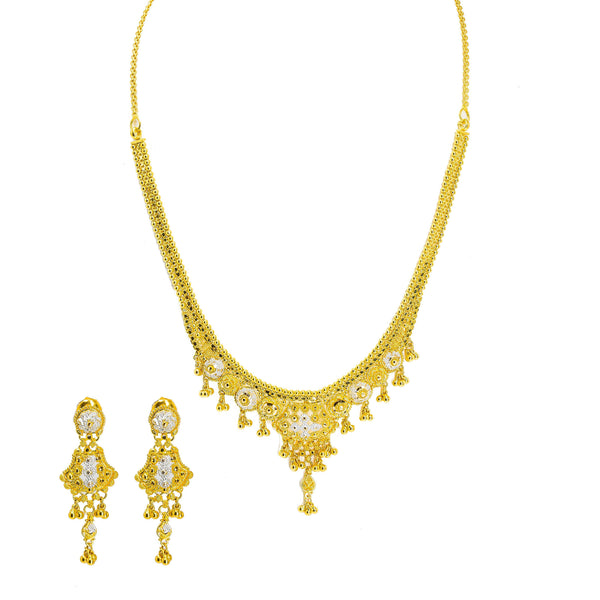 22K Multi Tone Gold Necklace & Earrings Set W/ Wide Royal Beaded Pendant & Hanging Gold Beads |  22K Multi Tone Gold Necklace & Earrings Set W/ Wide Royal Beaded Pendant & Hanging Gold ...