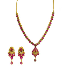 22K Yellow Gold Necklace & Earrings Set W/ Ruby, Rose Coins & Large Pear Shaped Pendants