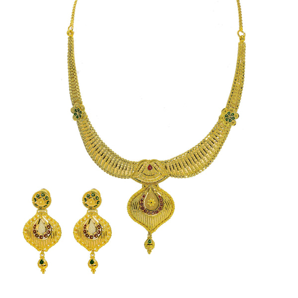 22K Yellow Gold Necklace & Earrings Set W/ Beaded Filigree, Enamel Details & Large Faceted Pendants |  22K Yellow Gold Necklace & Earrings Set W/ Beaded Filigree, Enamel Details & Large Facet...