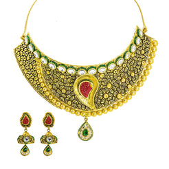 22K Yellow Gold Choker & Jhumki Drop Earrings Set W/ Ruby, Emerald, Kundan & Deep Carved Mango Detail
