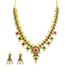 22K Gold Set with Ruby, Emerald and Pearls