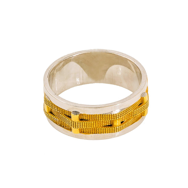 22K Multi Tone Gold Band Ring for Men W/ Crossover Pipe Detail |  22K Multi Tone Gold Band Ring for Men W/ Crossover Pipe Detail. This stunning multi tone gold ba...