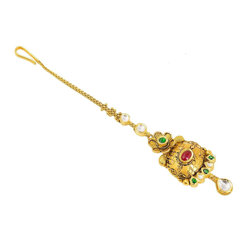 22K Yellow Gold Antique Tikka W/ Oval Pendant & Flower Detail |  22K Yellow Gold Antique Tikka W/ Oval Pendant & Flower Detail. This beautiful antique Tikka ...
