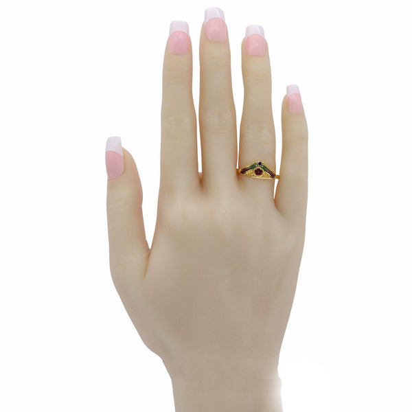 22K Yellow Gold Triangular Frame Ring W/ Hand Paint Finish | 22K Yellow Gold Triangular Frame Ring W/ Hand Paint Finish for women. Ring features a triangle fr...