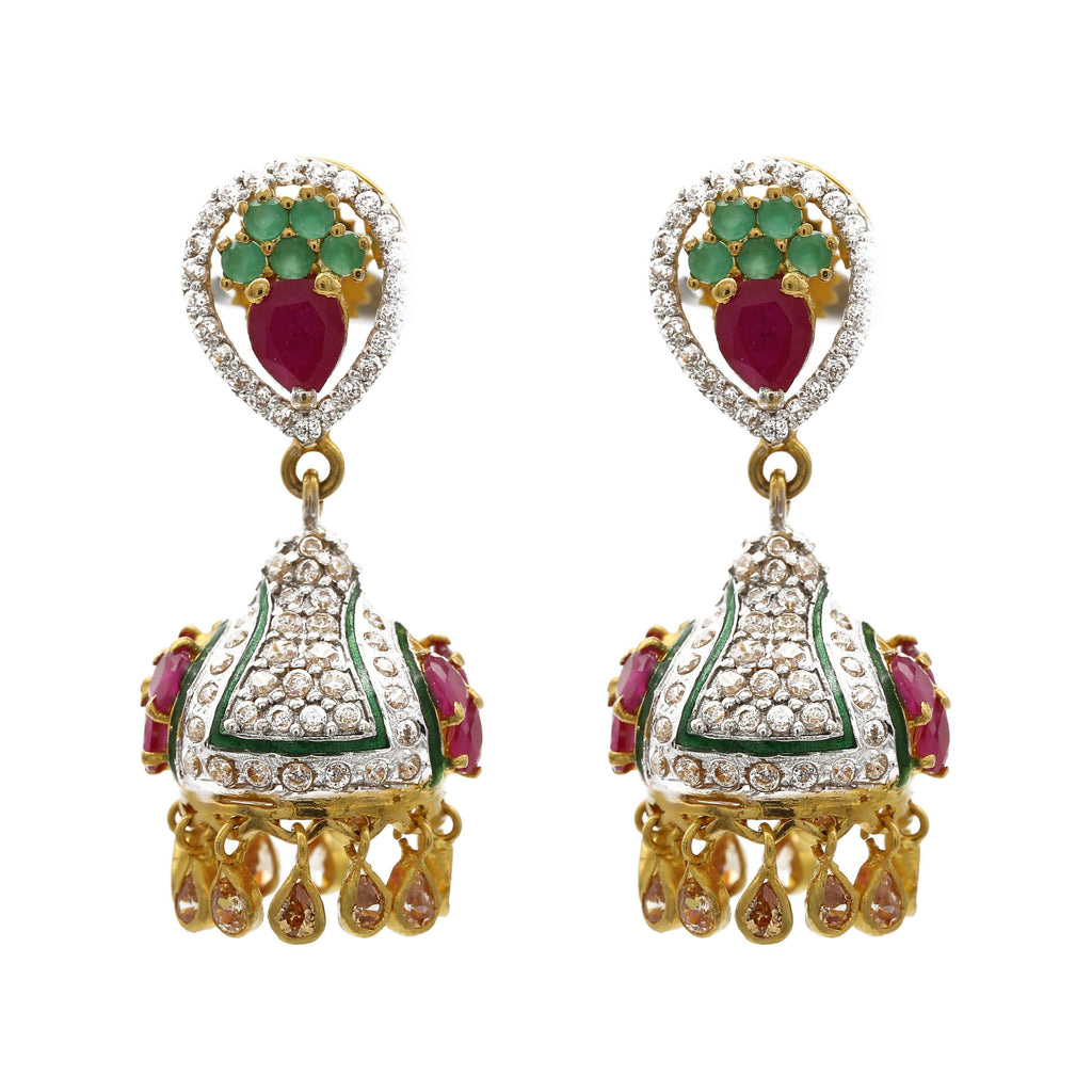 22K Multitone Gold Jhumki Drop Earrings W/ Emeralds, Rubies, & Cubic Zirconia |  22K Multitone Gold Jhumki Drop Earrings W/ Emeralds, Rubies, & Cubic Zirconia for women. The...