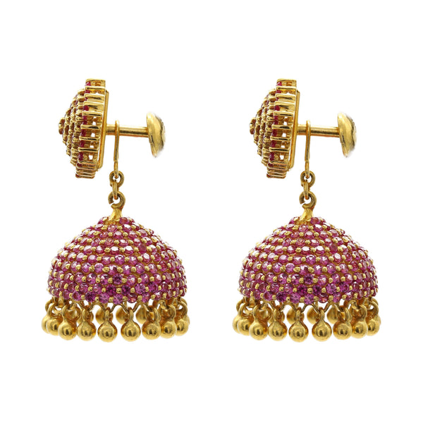 22K Yellow Gold Jhumkis Earrings W/ Ruby Pavé | 22K Yellow Gold Jhumkis Earrings W/ Ruby Pavé for women. This unique style can be worn two ways: ...