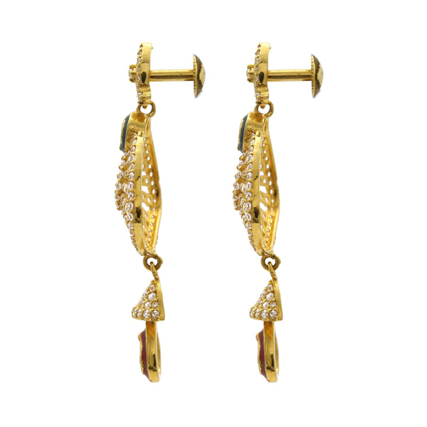 22K Yellow Gold Drop Dangle Earrings W/ Cubic Zirconia & Enamel |  22K Yellow Gold Drop Dangle Earrings W/ Cubic Zirconia & Enamel for women. These beautiful c...