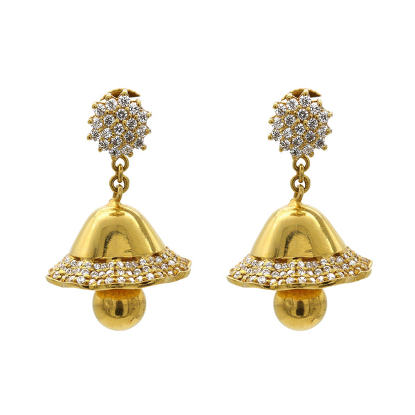 22K Yellow Gold Jhumkis Bell Earrings W/ Cubic Zirconia Pavé | 22K Yellow Gold Jhumkis Bell Earrings W/ Cubic Zirconia Pavé for women. This unique style can be ...