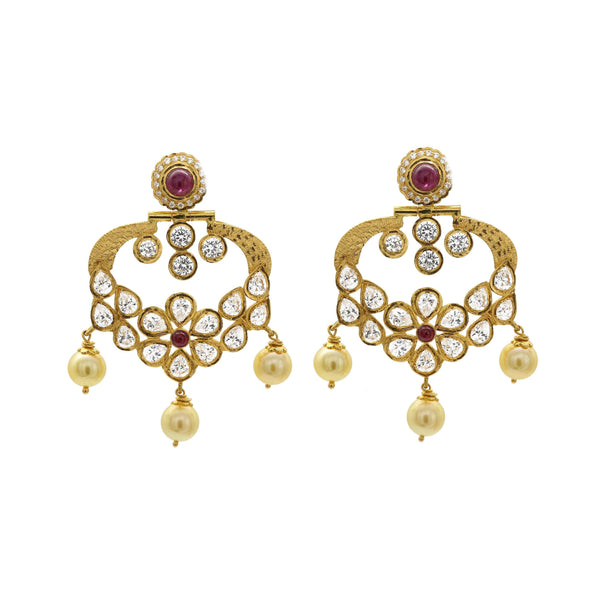 22K Antique Textured Gold Dangle Earrings W/ Rubies, Cubic Zirconia, & Pearls | 22K Antique Textured Gold Dangle Earrings W/ Rubies, Cubic Zirconia, & Pearls for women. This...