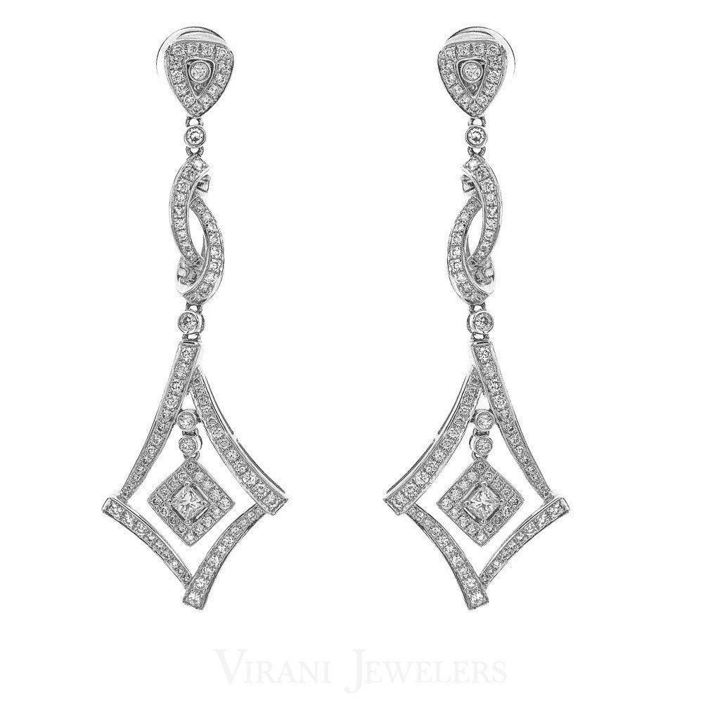 1.77CT Diamond Drop Earrings Set In 18K White Gold W/ Diamond Frames | 1.77CT Diamond Drop Earrings Set In 18K White Gold W/ Diamond Frames for women. Gold weight is 9....