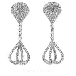 1.23CT Diamond Drop Teardrop Bisou Earrings Set In 14K White Gold