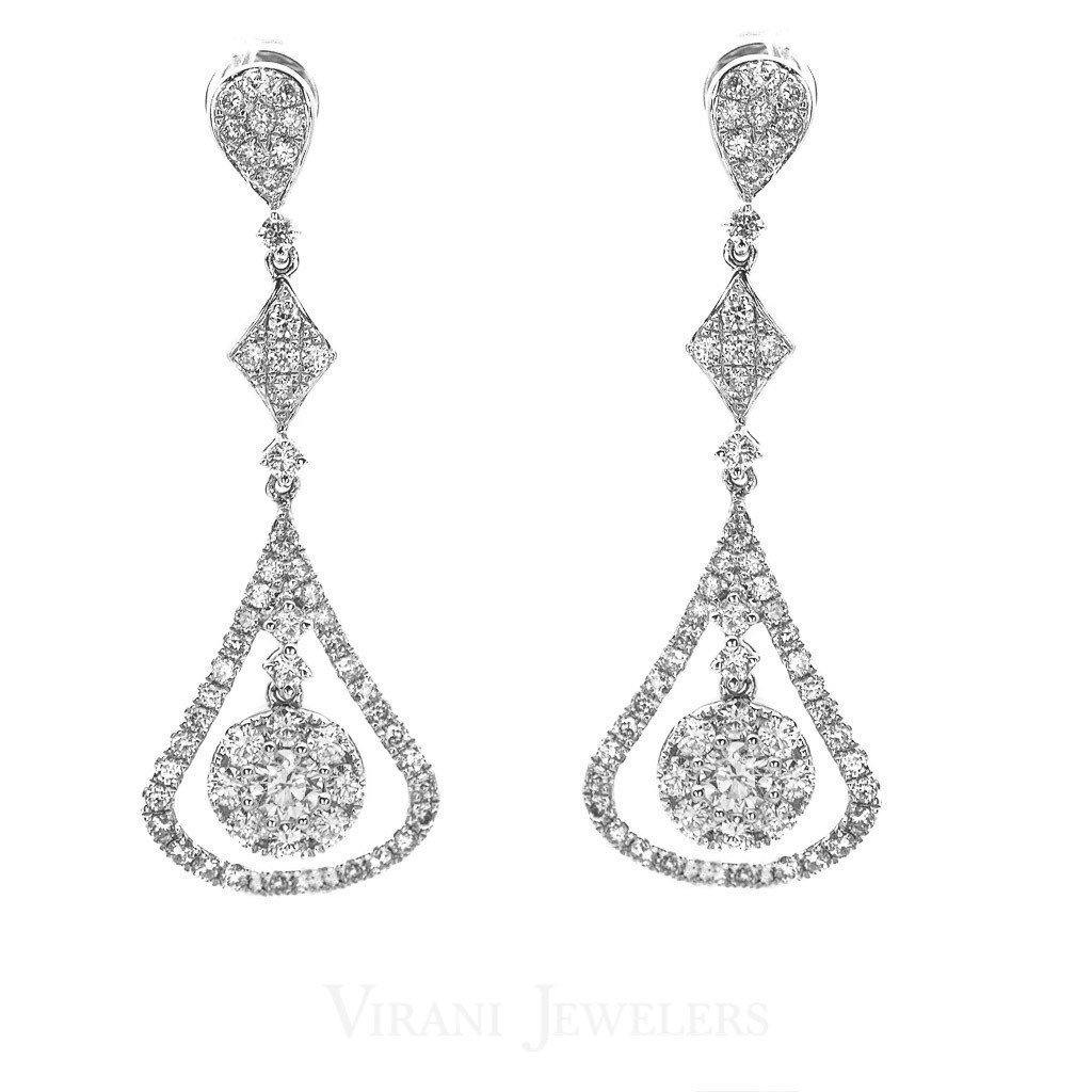 1.38CT Diamond Double Frame Drop Earrings Set In 14K White Gold W/ Geometric Design | 1.38CT Diamond Double Frame Drop Earrings Set In 14K White Gold W/ Geometric Design for women. Go...