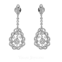 1.31CT Diamond Drop Paisley Earrings Set In 14K White Gold