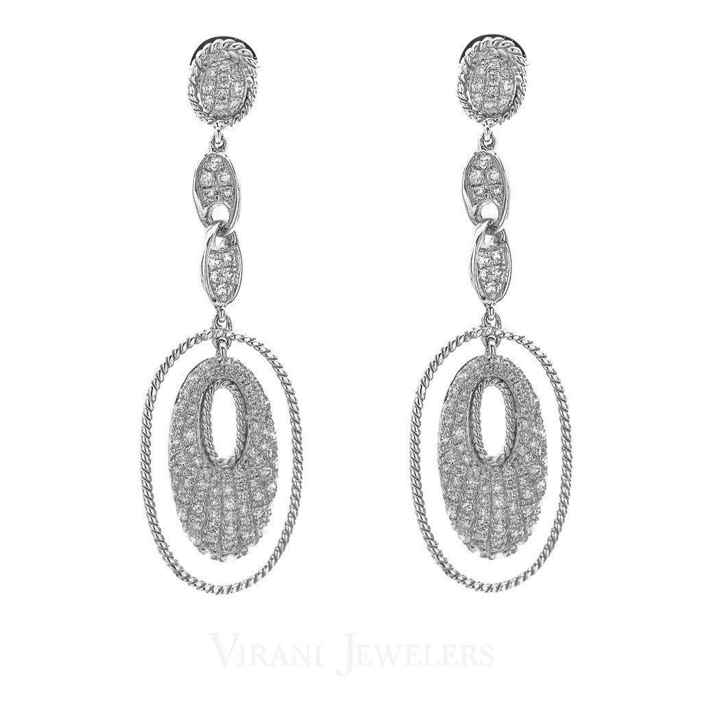 1.4CT Diamond Drop Oval Earrings Set In 14K White Gold | 1.4CT Diamond Drop Oval Earrings Set In 14K White Gold for women. Gold weight is 5.8 grams. Earri...