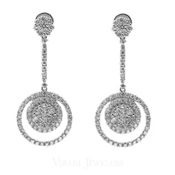 1.72CT Diamond Drop Karma Earrings Set In 18K White Gold