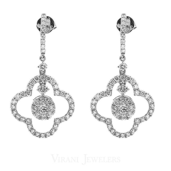 1.6CT Diamond Drop Quatrefoil Earrings Set In 14K White Gold | 1.6CT Diamond Drop Quatrefoil Earrings Set In 14K White Gold for women. Gold weight is 4.7 grams....
