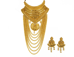 22K Yellow Gold Layered Choker Necklace & Earrings Set W/ High V-Neck Plate & Draping Beaded Strands