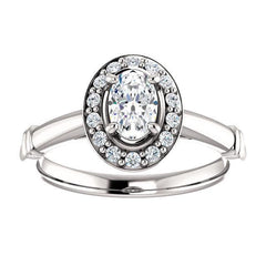 Pave Diamond Halo Solitaire Engagement Ring