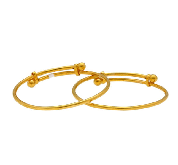 22K Yellow Gold Baby Bangles Set of 2 W/ Adjustable Bands 7.7gm |     Beautify your little ones with the brilliance of this set of two, 22K yellow gold resizable b...