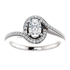 Solitaire Diamond Bypass Engagement Ring W/ Channel Set Band