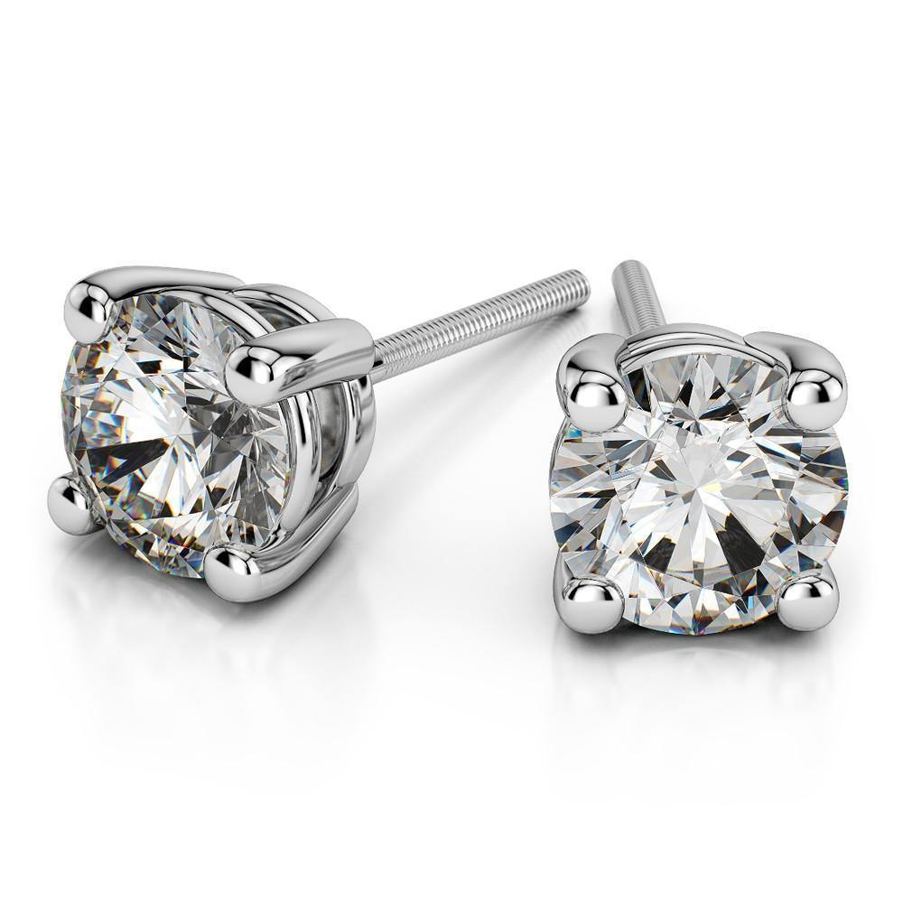 14K White Gold Diamond Earrings - Virani Jewelers | A beautiful pair of Solitaire Diamond Studs. Total weight of 1.75 ct.