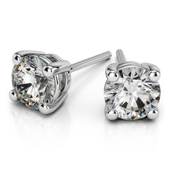 14k White Gold Round Cut Diamond Solitaire Earrings