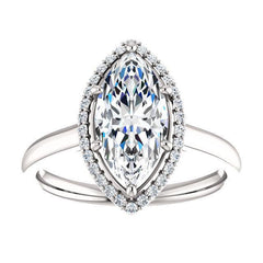 Four Prong High Set Diamond Engagement Ring W/ Band