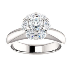 Luxe Hex Brilliant Round Diamond Engagement Ring