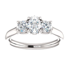 Three Stone Diamond Engagement Ring, Round Side Stone