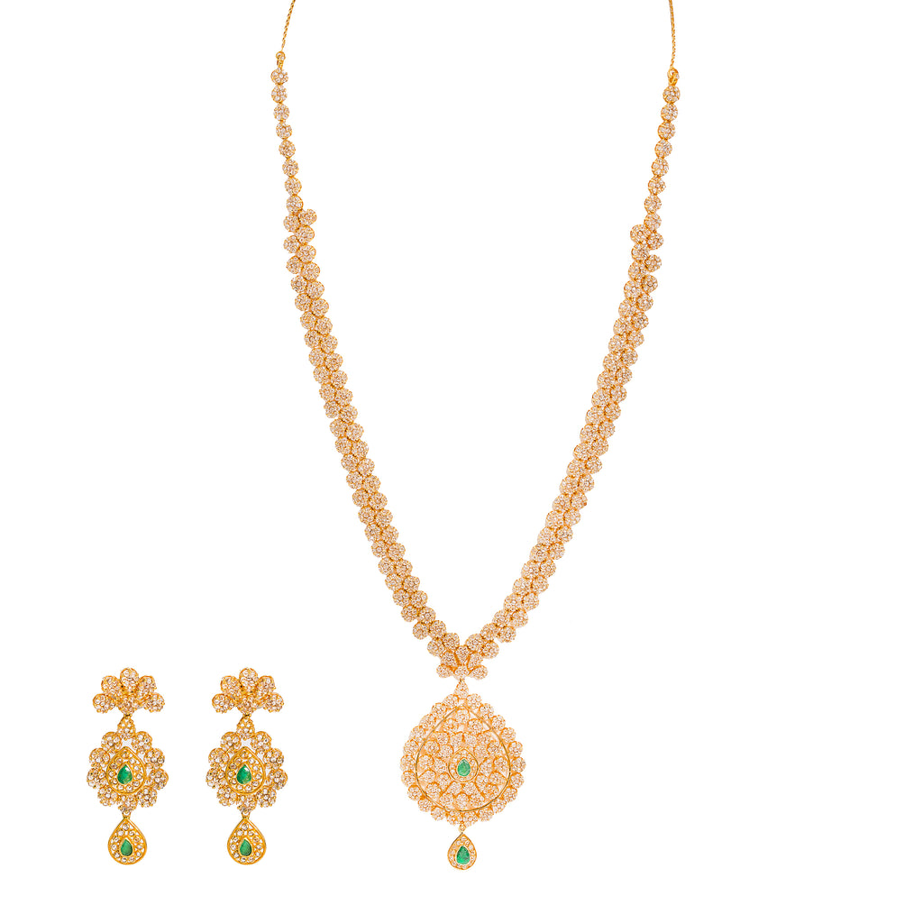 36.6 CT Uncut Diamond Emerald Necklace & Earring Set in 22K Gold W/Cable Link Chain | Ravishing 36.6CT Uncut Diamond Emerald Necklace & Earring Set in 22K Gold W/Cable Link Chain ...