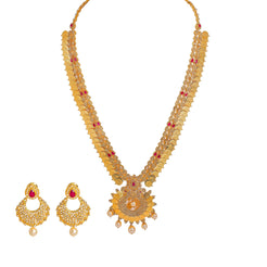 22K Yellow Gold Diamond Necklace & Earrings Set W/ 17.6ct Uncut Diamonds, Rubies, Pearls, Laxmi Kasu & Open Pendant
