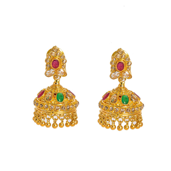 22K Yellow Gold Diamond Necklace & Jhumki Drop Earrings Set W/ 18.77ct Uncut Diamonds, Rubies, Emeralds, Laxmi Kasu & Large Eyelet Pendant |  22K Yellow Gold Diamond Necklace & Jhumki Drop Earrings Set W/ 18.77ct Uncut Diamonds, Rubie...