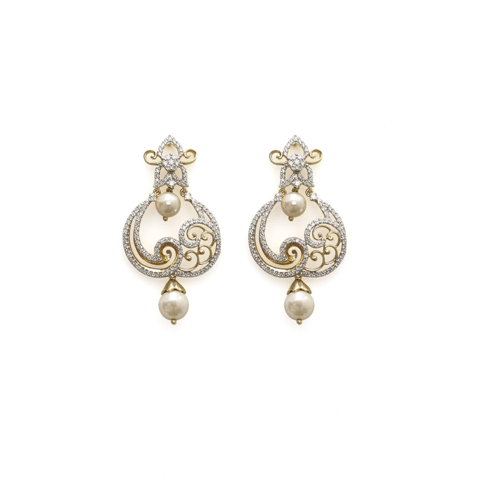 18K Yellow Gold Diamond Chand Bali Earrings W/ 1.49ct VS Diamonds, Pearls & Paisley Design | Elegance precedes you in the form of certified diamonds and seamless design with these beautiful ...