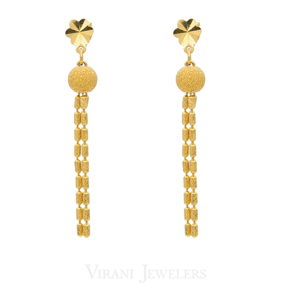 22K Yellow Gold Tassele Drop Necklace And Dangle Drop Earrings | 22K Yellow Gold Tassele Drop Necklace And Dangle Drop Earrings for women. Gold weight is 17.6 gra...