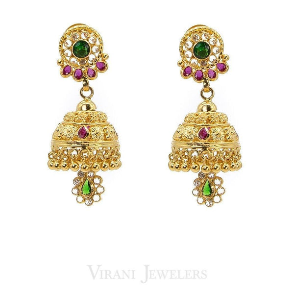 22K Antique Gold Choker Filigree Necklace & Jhumki Drop Earrings W/ Ruby & Emerald Stones | 22K Antique Gold Choker Filigree Necklace & Jhumki Drop Earrings W/ Ruby & Emerald Stones...