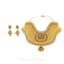 22K Antique Gold Choker Filigree Necklace & Jhumki Drop Earrings W/ Ruby & Emerald Stones