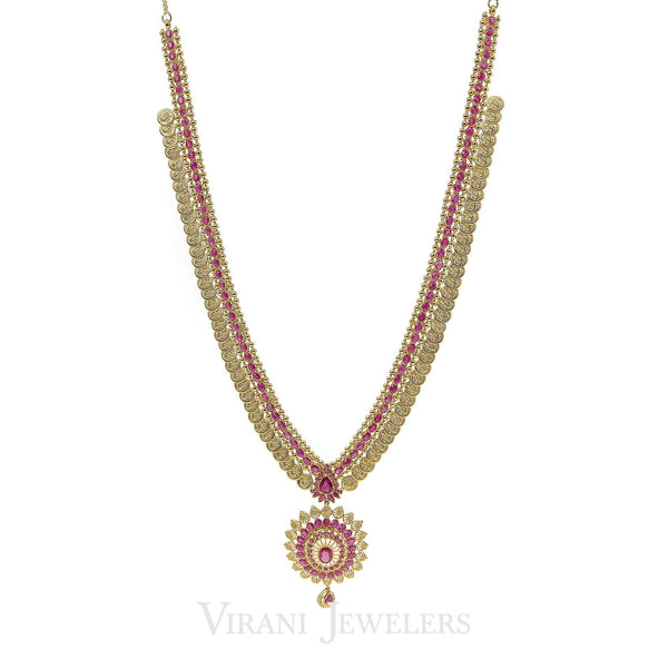 Pink Ruby Vintage Drop Necklace and Earrings Set in 22K Yellow Gold W/ Coin Accents | Pink Ruby Vintage Drop Necklace and Earrings Set in 22K Yellow Gold W/ Coin Accents for women. Be...
