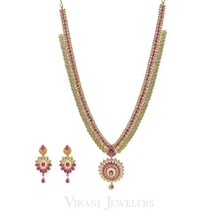 Pink Ruby Vintage Drop Necklace and Earrings Set in 22K Yellow Gold W/ Coin Accents