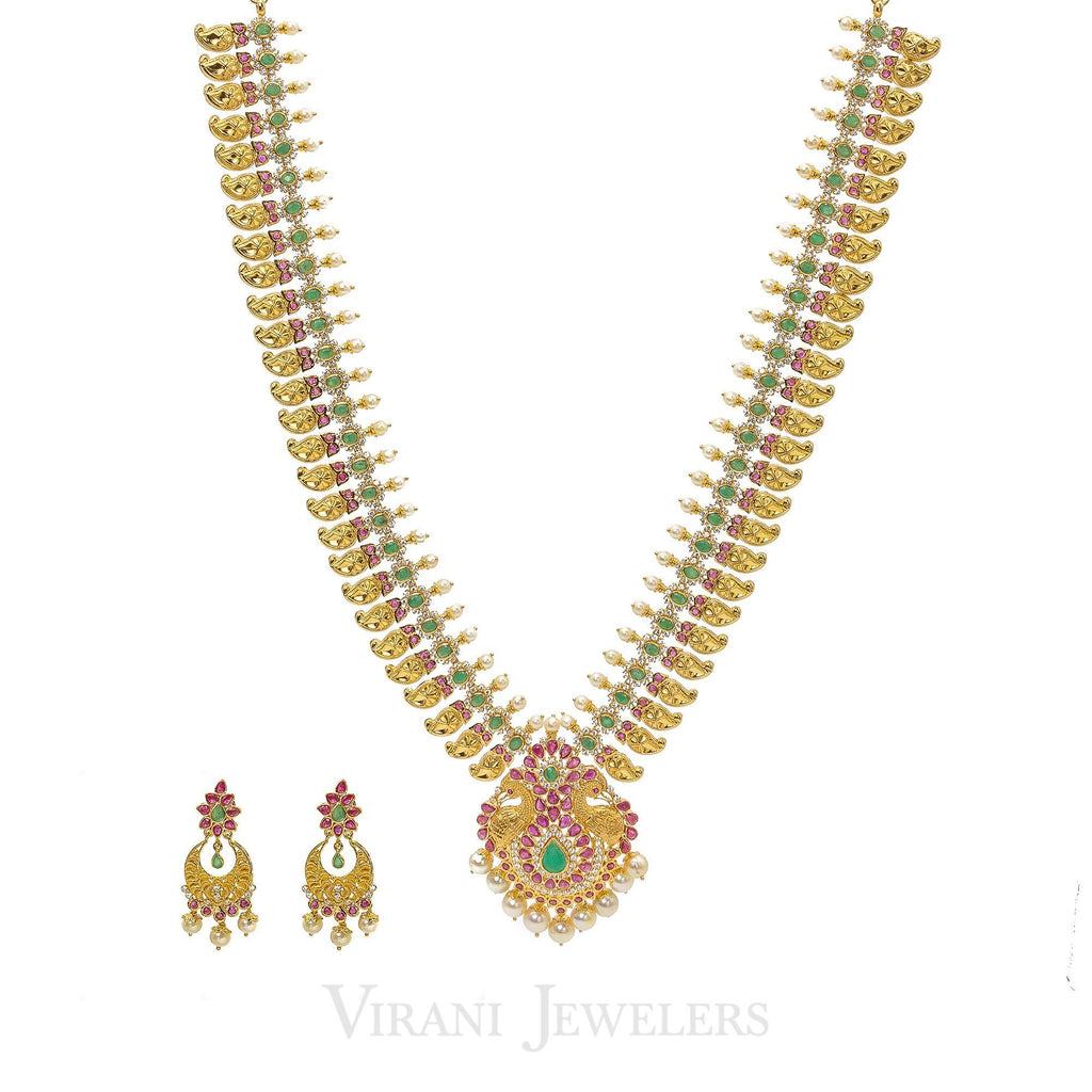 22K Yellow Gold Necklace & Earrings Set W/ CZ, Ruby, Emerald & Mango Details |  22K Yellow Gold Necklace & Earrings Set W/ CZ, Ruby, Emerald & Mango Details for women. ...