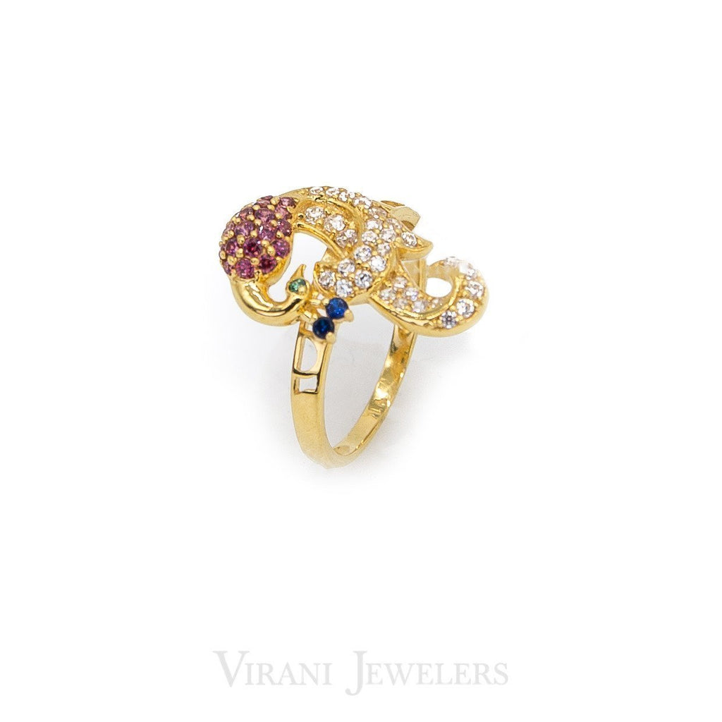 22K Yellow Gold Peacock Ring Colored With Cubic Zirconia Stones | 22K Yellow Gold Peacock Ring Colored With Cubic Zirconia Stones for women. Colorful Virani signat...
