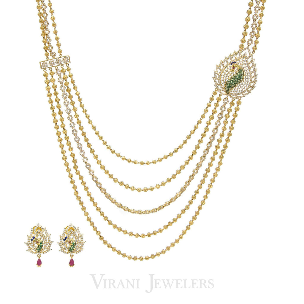 22K Gold Swaroski CZ Peacock Necklace and Earrings Set | Stylish 22k Gold with swaroski cubic zircon long necklace with matching peacock earrings.