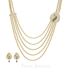 22K Gold Swaroski CZ Peacock Necklace and Earrings Set