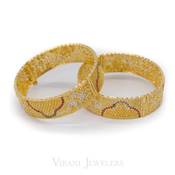 22K Yellow Gold Kada Bangles W/Hand Painted Multi Beaded Design | 22K Yellow Gold Kada Bangles W/Hand Painted Multi Beaded Design for women. Gold weight is 68.4 gr...