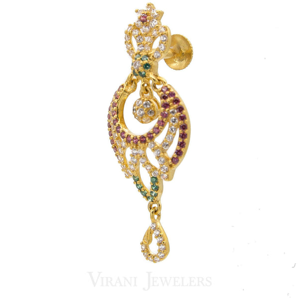 22K Gold CZ Peacock Necklace and Earrings Set | Beautiful  22k Gold CZ, Ruby ,Emerald Necklace and Earrings Set.