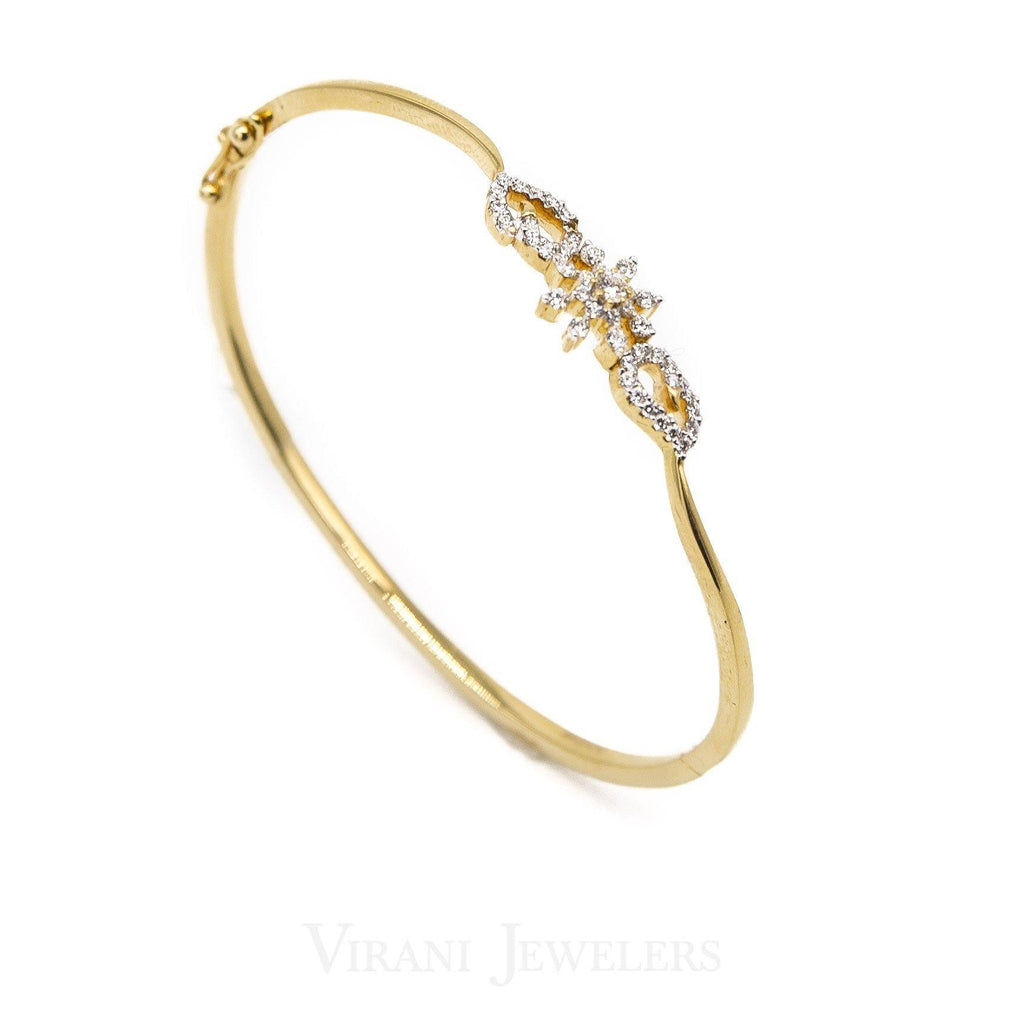 0.5CT Minimal Twist Diamond Cuff Bracelet Set in 18K Yellow Gold | .5CT Minimal Twist Diamond Cuff Bracelet Set in 18K Yellow Gold for women. 18kt diamond bangle wi...