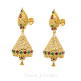 22K Yellow Gold Jumkhi Drop EarringsW/Precious Ruby & Emerald Stones | 22K Yellow Gold Jumkhi Drop EarringsW/Precious Ruby & Emerald Stones for women. Gold weight i...