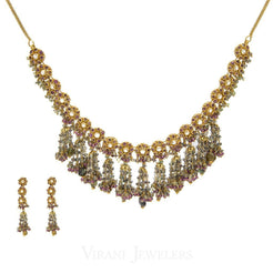 22K Yellow Gold Necklace and Earrings Set W/ Kundan & Floral Chandelier Design