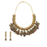 22K Yellow Gold Necklace and Earrings Set W/ Kundan & Floral Chandelier Design | 22K Yellow Gold Necklace and Earrings Set W/ Kundan & Floral Chandelier Design for women. Thi...