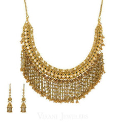 22K Yellow Gold Bohemian Chandelier Tassel Chain Necklace and Earrings Set